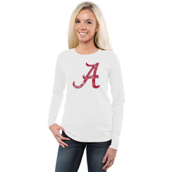 Alabama Crimson Tide Women's Classic Primary Logo Slim Fit Long Sleeve T-Shirt - White