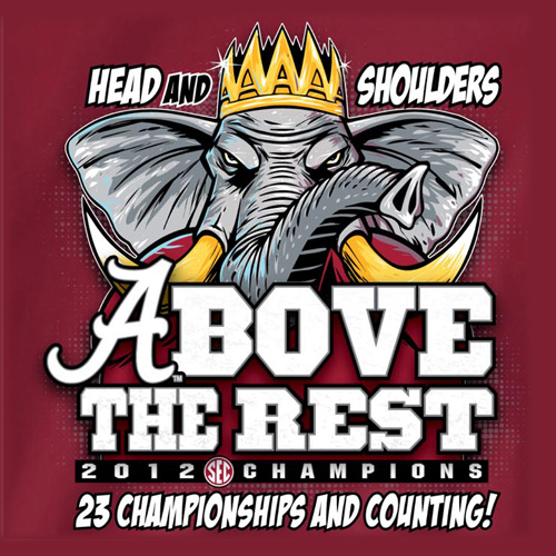 Alabama crimson tide 2012 sec champions head and shoulders Alabama sec championship shirt