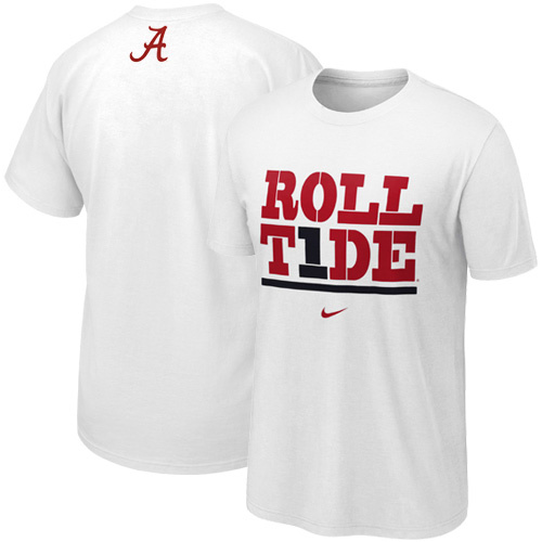 New nike alabama crimson tide roll tide my school white t for Alabama roll tide t shirts